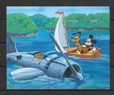 Disney Palau 1994 Mickey And Pluto Visit A World War II Airplane Relic MS MNH - Disney