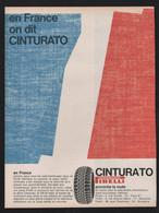 Publicité Papier 1968  Automobile Pneu PIRELLI Cinturato Drapeau France Pneus Automobiles Voiture Ads Car - Publicités