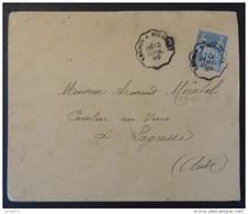 04 - 21 - France - Sage 15c Bleu Sur Lettre Oblitéré Ambulant Verdon à Bordeaux - Railway Post