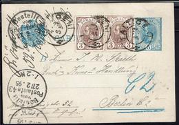 Roumanie - Entier Postal 5 Bani + Compl. 3+3 De Falticeni 25-2-1895 Pour Berlin - B/TB - - Postwaardestukken
