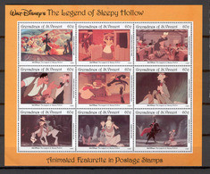 Disney St Vincent Gr 1992 The Legend Of Sleepy Hollow Sheetlet MNH - Disney