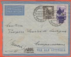 ITALIA - Colonie - Libia - 1940 - 50c + 50c Cirenaica Posta Aerea - Via Ala Littoria - Viaggiata Da Bengasi Per Campomor - Libyen