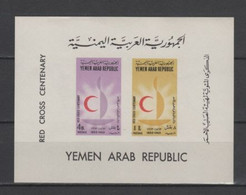 (S2289) YEMEN ARAB REPUBLIC, 1963 (Red Cross Centenary). Souvenir Sheet. Imperf. Mi ## 313B-314B (Block 18). MNH** - Jemen