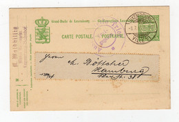 LUXEMBOURG: 1915 Censored Postal Stationery Postcard To Germany (S355) - 1907-24 Coat Of Arms