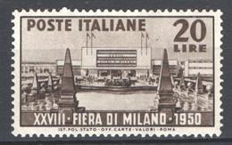 Italia Repubblica 1950 Fiera Di Milano Sass.616 **/MNH VF - 1946-60: Ungebraucht