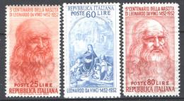 Italia Repubblica 1952 Leonardo Da Vinci Sass.686/88 **/MNH VF - 1946-60: Ungebraucht