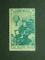 Vignette Exposition Universelle - Grande Fête Aérostatique, Ascension Ballon Dijon 1898 - Erinnofilie