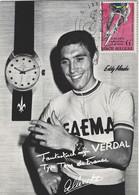 EDDY MERCKX, FAEMA, MET PUBLICITEIT VOOR UURWERKEN VERDAL + POSTZEGEL MET SPECIALE DAGAFSTEMPELIING, 1969 - Cycling