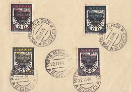 Agäische Inseln Rodi (Rhodos) Minr.221-224 Auf Ganzsache Posta Aerea 22.11.44 Egeo - Ägäis (Rodi)