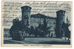 9957 - TORINO PALAZZO MADAMA E PIAZZA CASTELLO ANIMATA TRAM 1932 - Palazzo Madama
