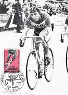 EDDY MERCKX, FAEMA, + POSTZEGEL MET SPECIALE DAGAFSTEMPELIING WERELDKAMPIOENSCHAP OP DE WEG ZOLDER 1969 - Cycling