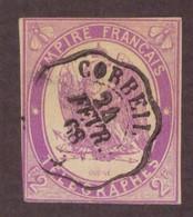 France Telegraphe Telegraphes Empire Français N°4 Filet Touché à Gauche Cote 225€ Cachet Corbeil 1868 - Telegramas Y Teléfonos