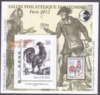 CNEP N°  62 De 2012 - Bloc Autoadhésif - Salon D'automne PARIS  - Le COQ DE DECARIS - CNEP