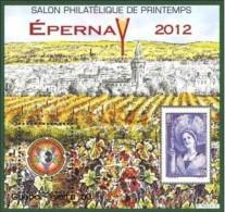 CNEP N°  60 De 2012 - Bloc Dentelé - Salon De Printemps  à EPERNAY - Dessin De Irolla - Vignoble Champenois - CNEP