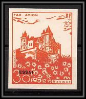 85521/ Grève De Saumur 1953 Essai Non Dentelé Imperf Surcharge Chateau Castle - Staking