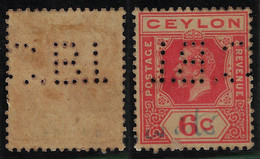 Ceylon1899 / 1969 Perfin C.B.I. From Chartered Bank Of India Australia & China From Colombo - Ceilán (...-1947)