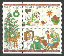 SWEDEN 1984 CHRISTMAS DECORATIONS POINSETTIA CANDELABRA BOOKLET PANE MNH - Unused Stamps
