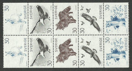 SWEDEN 1968 LILJEFORS ART WILDLIFE BIRDS EAGLE CROW ARCTIC HARE BOOKLET PANE MNH - Unused Stamps