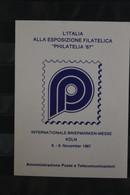 Italien, Ausstellungsfolder Zur Philatelia '87 Köln - Filatelistische Tentoonstellingen