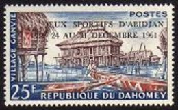 Dahomey, 1961, House On The Water, Boats, Sports Games, Overprinted, MNH, Michel 190 - Benin – Dahomey (1960-...)