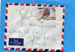 Marcophilie-lettre-  R C A>Françe-cad-Bossangoa -193-stamps N°A 210- JO Sarayevo Hockey Sur Glace - Central African Republic
