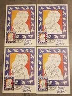 S.TOME.E.PRINCIPE 1981 CENTENARY P.PICASSO 4 MAXI CARDS. - Sao Tome And Principe