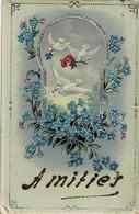 Carte Avec Des Colombes Amitiés Circulée En 1921 - Birds