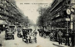 Paris Le Boulevard Montmartre Circulée En 1919 - Squares