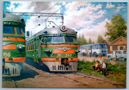SOVIET Suburban Electrical TRAIN ER-243 Railroad Rail In Village New Postcard - Unclassified