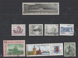 Pologne  Thèmes Différents Bateaux  Lot De 8 Timbres - Used Stamps