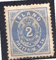 ISLANDE - (Dépendance Danoise) - 1873 - N° 1 - 2 S. Bleu - (Chiffre Dans Un Ovale) - Ungebraucht