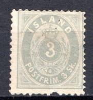 ISLANDE - (Dépendance Danoise) - 1873 - N° 2 - 3 S. Gris - (Chiffre Dans Un Ovale) - Ungebraucht