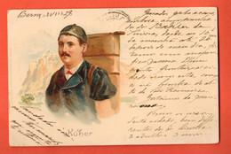 ZNC-36 SELTEN RARE Litho Küher Vacher. Litho Gelaufen 1902 Nach Portugal. Pionier - BE Berne
