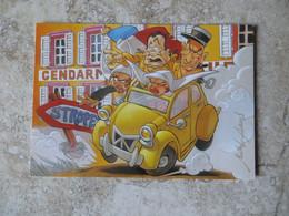CPM Humour La Gendarmerie De Saint Tropez Voiture 2 CV Carricature De Louis De Funès - Illustrateur Michel Achard - Humour