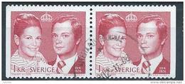 Suède 1976 925a Oblitérés En Paire Mariage Royal - Used Stamps
