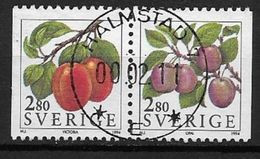 Suède 1994 1791/1792 Oblitérés En Paire, Fruits, Prunes - Used Stamps