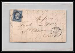 7098 LAC 1856 N 14 Napoleon 20c TB Pc 1593 Joyeuse Ardeche St Etienne Loire France Lettre Cover - 1849-1876: Periodo Classico