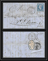 7228 LAC 1862 N 14B Napoleon 20c Pc 1275 Figeac Lot + Etiquette St Etienne Loire France Lettre Cover - 1849-1876: Classic Period