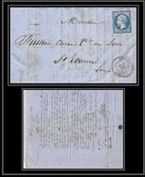 7260 LAC 1862 N 14B Napoleon 20c TB Pc 1275 Figeac Lot St Etienne Loire France Lettre Cover - 1849-1876: Classic Period