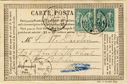 FRANCE - 1877 Carte Précurseur Pour Les ÉTATS-UNIS Affranchie 20c Avec 10c Sage Type I & Type 2 - Rare - 1877-1920: Periodo Semi Moderno