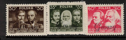 POLAND 1950 Revolution Centenaries Opted Groszy Mi 601-03 HM #BQZ06 - Unused Stamps