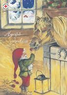Postal Stationery - Birds - Bullfinches - Elf Feeding An Apple To Horse - Red Cross 2005 - Suomi Finland - Postage Paid - Interi Postali