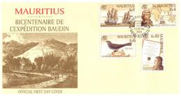 (NN 27) Mauritius FDC - 2001 - Expedition Baudin - Mauritius (1968-...)
