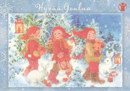 Postal Stationery - Bird - Bullfinch - Girls Walking With Presents - Save The Kids - Suomi Finland - Postage Paid - Interi Postali