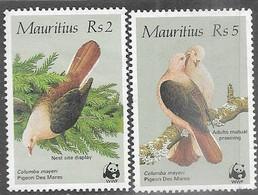 Mauritius  1985  Sc#614 & #616  Re2 & Re5 Doves MNG   2016 Scott Value $31 - Mauritius (1968-...)