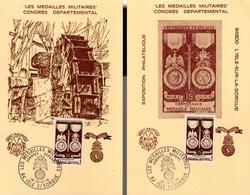 """"""" LA MEDAILLE MILITAIRE """" Sur 2 Cartes Commémoratives Oblitérées En 1976. N° YT 927. Parfait état - Militaria"""