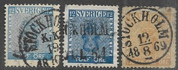 Sweden   1858  Sc#8-10  12o, 12o, 24o   Used   2016 Scott Value $44.50   Spacefillers - Used Stamps