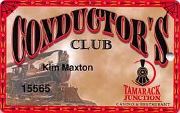 "Tamarack Junction Casino Reno NV Conductor's Club Slot Card  - 4th Line Starts ""be 21"" - Tarjetas De Casino"