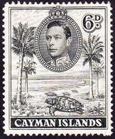 CAYMAN ISLANDS 1943 KGVI 6d Olive-Green SG122a Used - Iles Caïmans