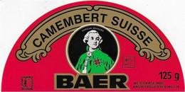 ETIQUETTE DE FROMAGE SUISSE NEUVE 10 CM DEMI ETIQUETTE BAER CAMEMBERT - Cheese